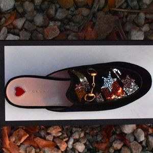 GUCCI Embellished Princetown Black Suede Mules